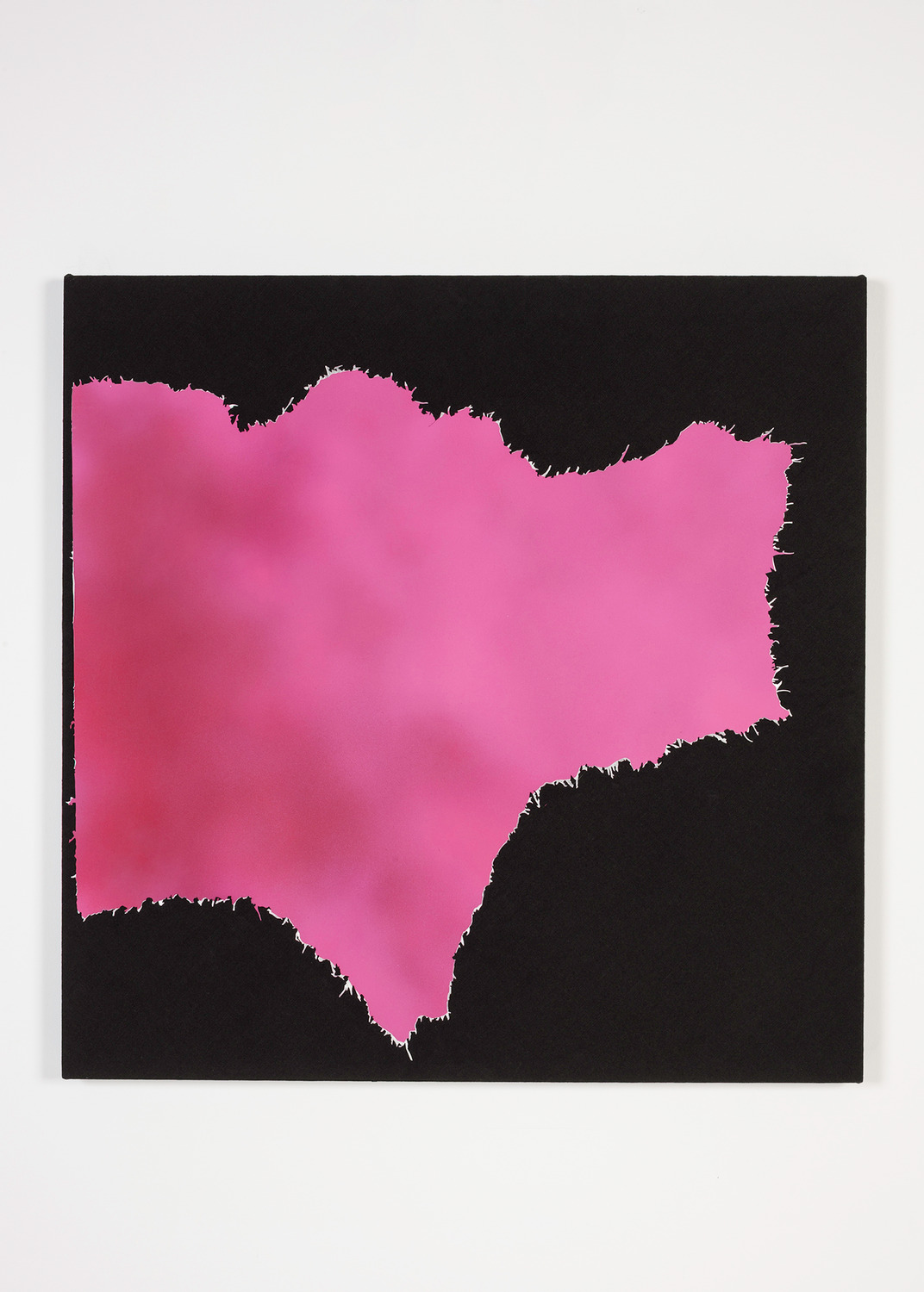 Magazine Painting (Magenta Atmosphere), 2014, Oil on aluminium on dyed linen, 96.5 x 96.5 x 4.5 cm