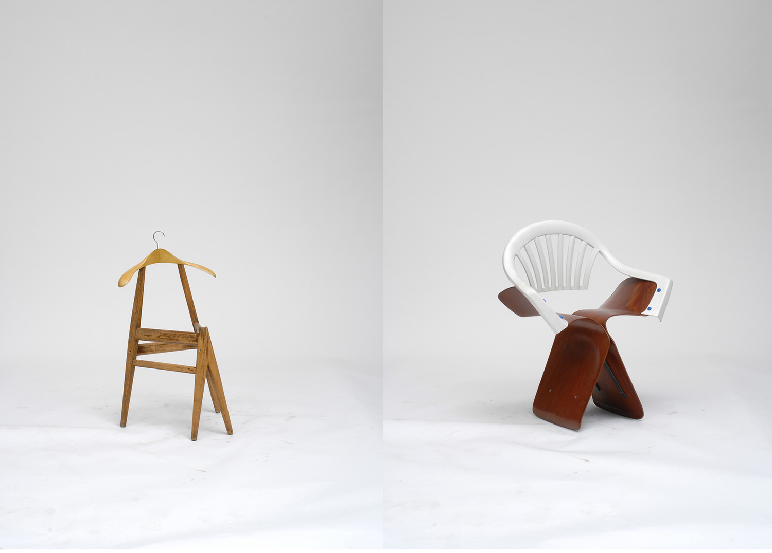 Martino Gamper,, Hanger, 22.09.2006 (left), Wood, 78 x 46 x 40 cm, and Sonnet Butterfly, 16.08.2006 (right), Mixed media, 80 x 68 x 43 cm