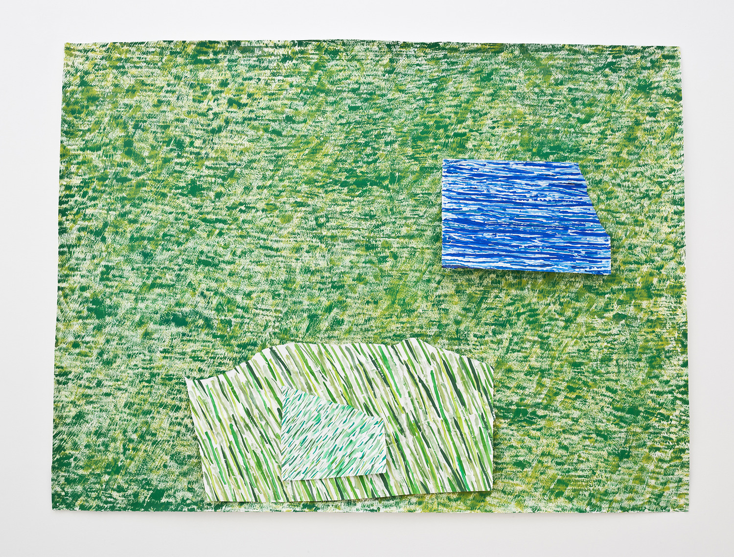 Contemporary Landscape # 1, 2013, Acrylic and household paint on paper, 126.5 x 172 x 3.7 cm
