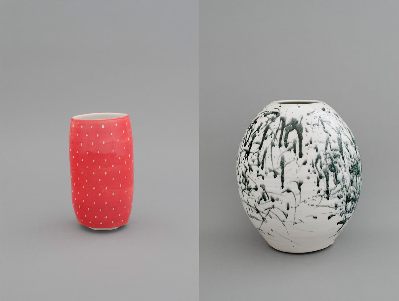Shio Kusaka, (strawberry 2), 2012 (left), Porcelain, 17.8 x 9.5 x 9.5 cm, and (ink 7), 2012 (right), Porcelain, 29.2 x 25.4 x 25.4 cm
