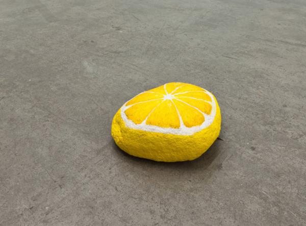 Blakam's stone (lemon), 2012, Acrylic on stone, 25.4 x 22.9 x 7.6 cm