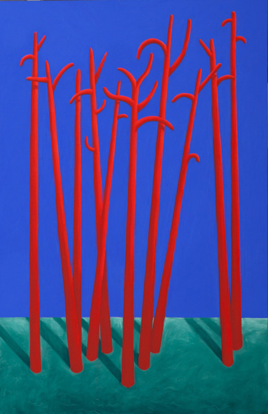 Trees, 2014, Pastel on canvas, 200 x 130 cm