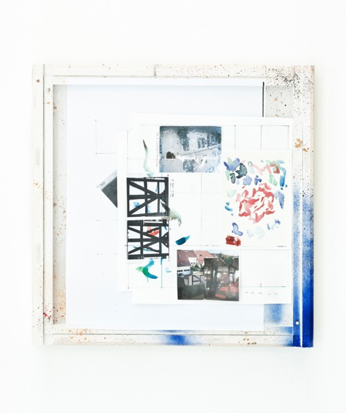 Manfred Pernice, <anexo> 4, 2013, Collage, spray paint and enamel paint on frame, 42.5 x 42.5 x 4 cm