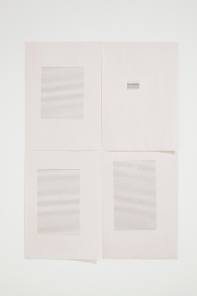 do the ever, 2012, Typewritten text on newsprint paper, 4 parts, each 42 x 29.7 cm