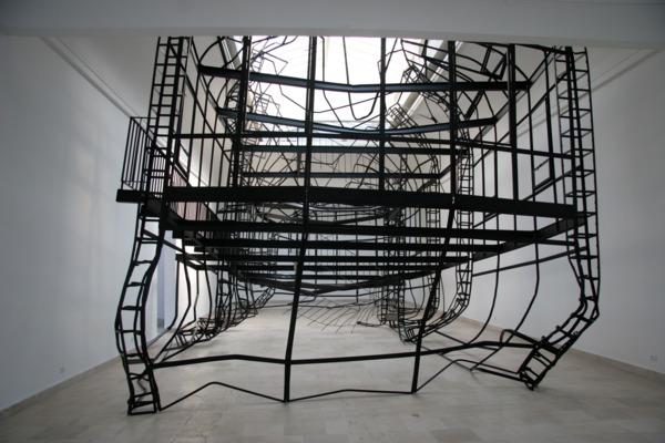 1:1, 2007, Steel, 700 x 1400 x 600 cm, Installation view, Polish Pavilion, 52nd Venice Biennale, Venice
