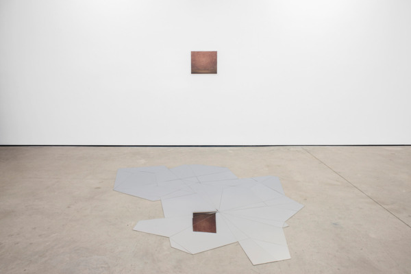 Daniel Steegmann Mangrané, Systemic Grid, 2015 (installed on floor), Laser cutting on polished steel, 280 x 202 cm, and, Lucas Arruda, Untitled, 2015, Oil on canvas, 40 x 47 cm