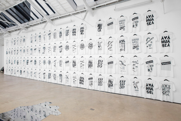 Adriano Costa, Novos Contemporâneos / New Contemporaries- tea time, 2015, Site specific installation print on fabric, Dimensions variable, Installation view 'Kiti Ka'aeté', The Modern Institute, Osborne Street, 2015