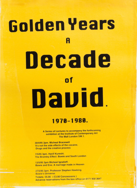Jeremy Deller, Golden Years A Decade Of David 1970-1980 (Yellow), 1995, Silkscreen on paper, 57 x 41 cm, Edition of 2