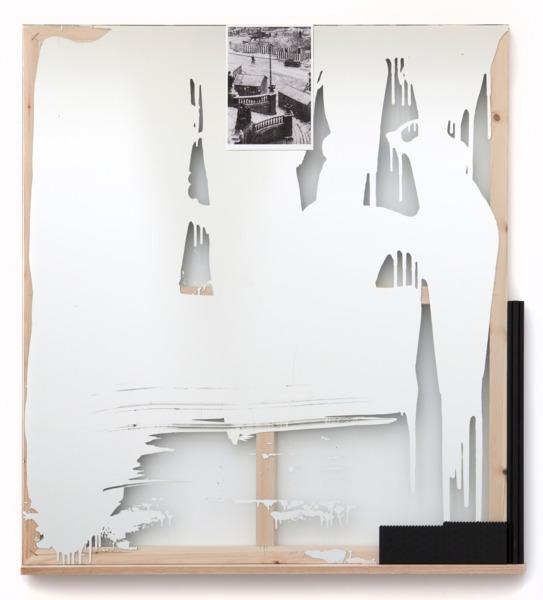 Dresden Mirror 3, 2012, Etched mirror, wooden frame, oak shelf, digital print, blackboard paint, dowel, lego, 138.4 x 127 x 9.2 cm