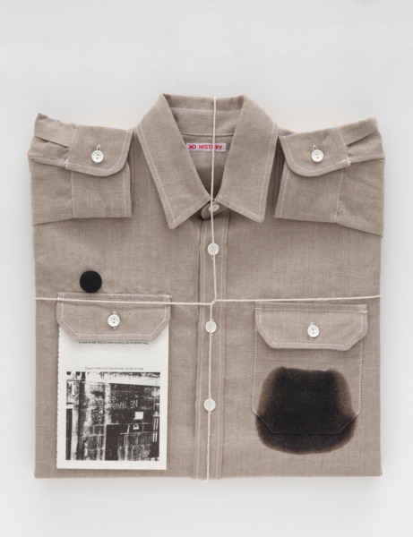 Untitled (shirt), 2012, Linen on wood frame, string, cutting,, painted badge, black bees wax, 45.1 x 42.5 x 6.4 cm