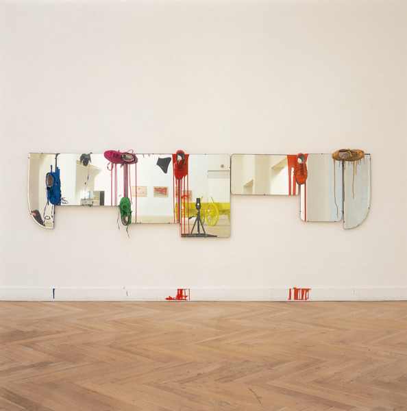 Bleached Highlights, 2002, Mirrors, trainers, gloss paint, 74 x 300 x 20 cm