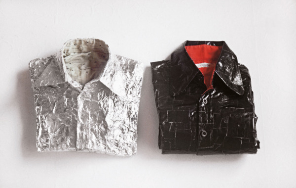 Two Shirts, 1996, Duct tape, aluminium foil, shirts, 34 x 62 x 8 cm