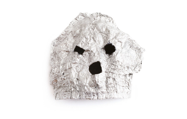 The Kid with the Replaceable Head, 1996, Aluminium foil, underpants, 30 x 30 x 23 cm