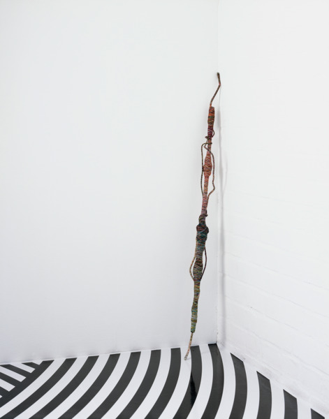 Psychedelic Soul Stick 70, 2008, Cotton thread, bamboo, wire, bead necklace, Malboro Light packet, handbag strap, 102 x 9 x 7 cm