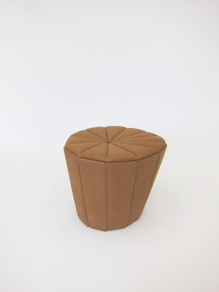 Leather Act, Pouffe 01, 2010, Upholstered leather, frame, 48 x 55 diameter cm
