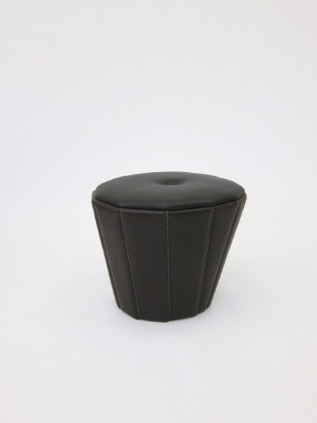 Leather Act, Pouffe 02, 2010, Upholstered leather, frame, 48 x 56 diameter cm