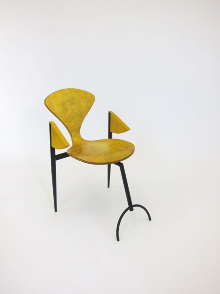 Yellowed Chair, 2013, Appropriated plywood chair, metal frame, 81 x 51.5 x 65 cm