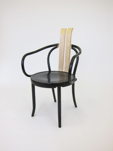 Spined, 2013, Appropriated mundus chair, bent plywood, 97 x 56 x 60 cm