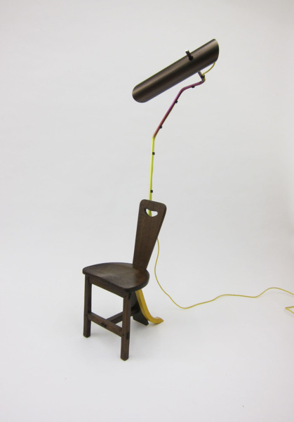 Composizioni with reading chair, 2013, Appropriated chair, extruded aluminium light, 171 x 50 x 65 cm