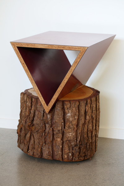 Cedar Wedge, 2011, Reclaimed materials: wood stump, formica, MDF, wood edging, 59.5 x 54 x 38.5 cm