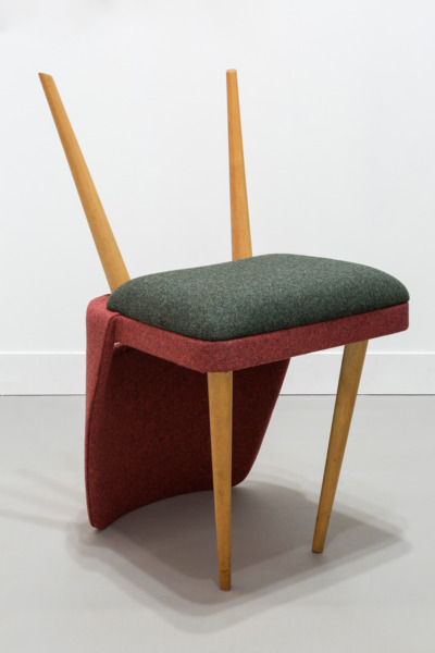 Upside Down Chair, 2012, Reclaimed chair with reupholstered wool, 79 x 39 x 49 cm