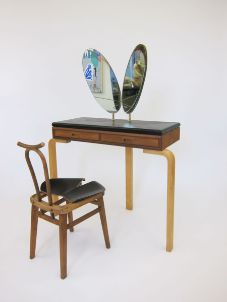 Vainessa Desk & Chair, 2007, Found appropriated chair, table parts and mirror, Table 76 x 102 x 46 cm, chair 80 x 45 x 47 cm