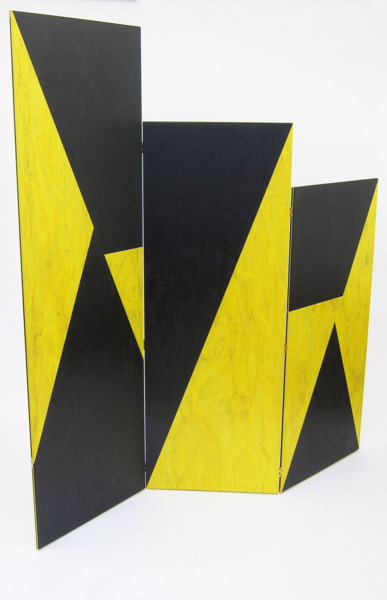 Yellow Meets Black Paravent, 2013, Coloured plywood, 228 x 213 x 2 cm unfolded