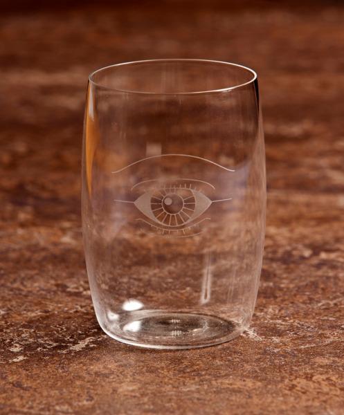 Auge für Auge, 2008, Hand etched crystal glass, Produced by Lobmeyr, 9 x 5.5 diameter cm