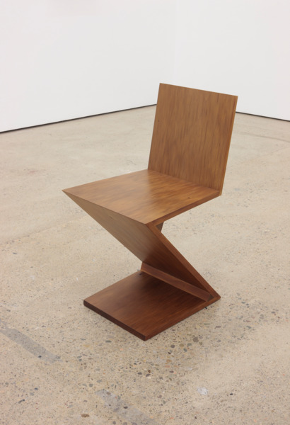 Nine Feet Later, 2015 (detail), 9ft of Zig-Zag chair designed by Gerrit Rietveld in 1934 and reproduced in 45,910 year-old swamp kauri wood by Andrew Miller, Dimensions variable, Installation view 'Nine Feet Later', The Modern Institute, Aird's Lane, Glasgow, 2015