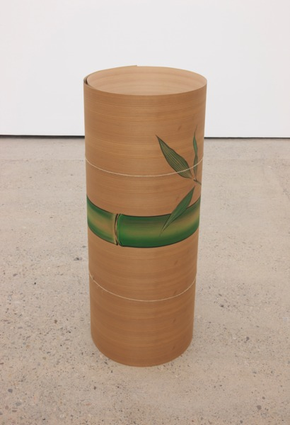 Nine Feet Later, 2015 (detail), A 9ft long painting of bamboo made on Japanese cedar veneer by Toru Okada and Takeshi Furukawa, Installation view 'Nine Feet Later', The Modern Institute, Aird's Lane, Glasgow, 2015