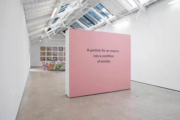 Installation view 'A petition for an enquiry into a condition of anxiety', The Modern Institute, Osborne Street, Glasgow, 2016