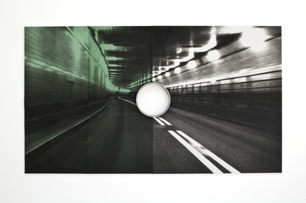 Lincoln Tunnel (Pipe), 2016, Inkjet print on cellulose sponge, iron pipe, 157.5 x 274.3 x 10.16 cm