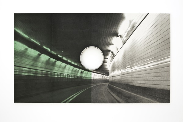 Holland Tunnel (Pipe), 2016, Inkjet print on cellulose sponge, iron pipe, 157.5 x 274.3 x 7.6 cm