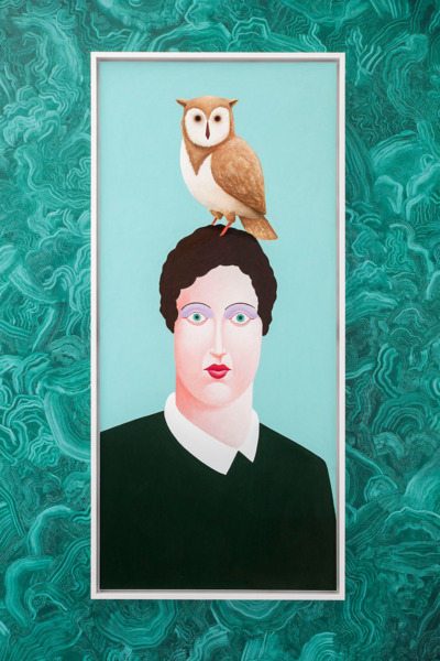 Portrait with an owl, 2016, Pastel on canvas, 205.8 x 95.8 cm