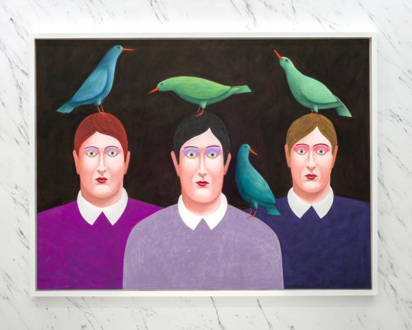 Four Green Birds, 2016, Pastel on canvas, 157 x 207 x 8 cm framed, Installation view 'Three Cats', The Modern Institute, Aird's Lane, Glasgow, 2016