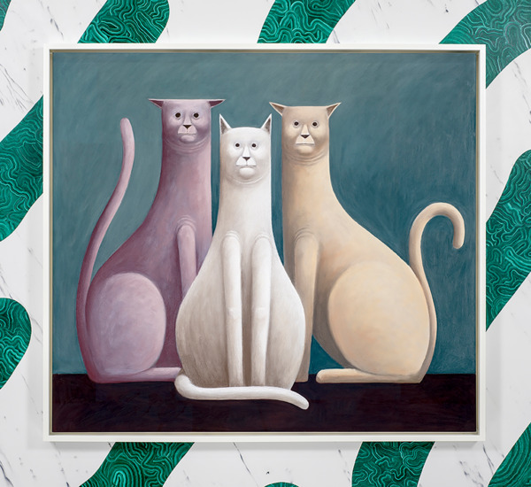 Three Cats, 2016, Pastel on canvas, 135 x 150 x 7 cm framed, Installation view 'Three Cats', The Modern Institute, Aird's Lane, Glasgow, 2016