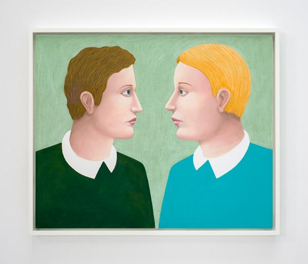 Profiles, 2016, Pastel on canvas, 95 x 115 x 7 cm framed