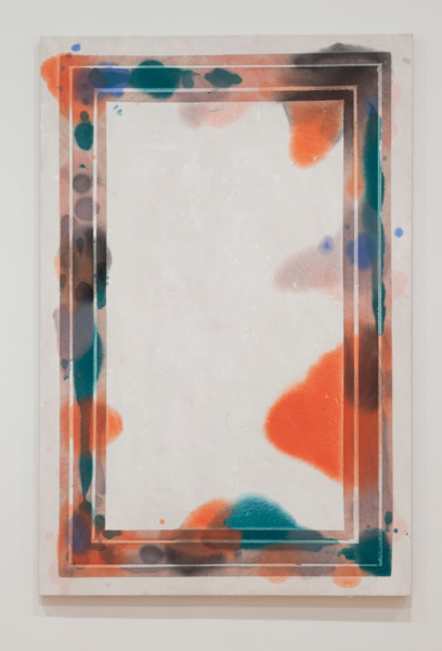 Large Correspondence (Narrow/Warm), 2011, Oil, acrylic, colored pencil and fabric dye on canvas, 182.9 x 121.9 cm, 72 x 48 in