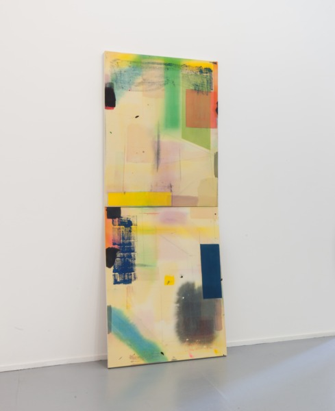 Yellowgreen, 2011, Synthetic polymer paint and pencil on canvas, two panels, 121.9 x 91.4 cm, 48 x 36 in each, overall dimensions variable