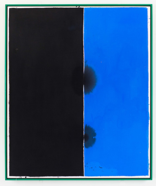 Flicker (3 to 5 color): Black / Blue, 2012, Acrylic and coloured pencil on canvas in artist frame, 127.6 x 104.8 x 5.7 cm, 50.25 x 41.25 x 2.25 in framed