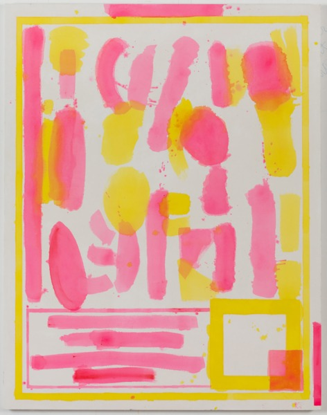 FOOD PLUS DRUG II (yellow / pink), 2012, Acrylic on canvas, 162 x 127 cm, 64 x 50 in