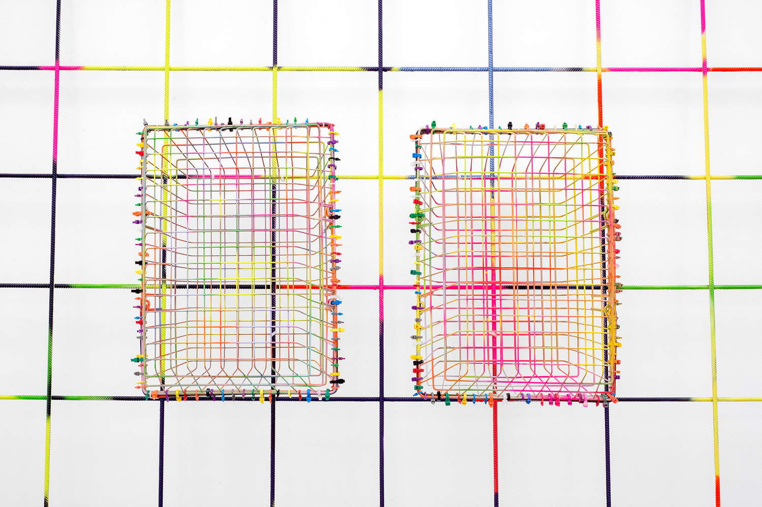 Indian Summer, 2016 (detail), Painted rebar mesh, painted wire baskets, coloured cable ties, 222 x 161 x 39 cm, 87.4 x 63.4 x 15.4 in