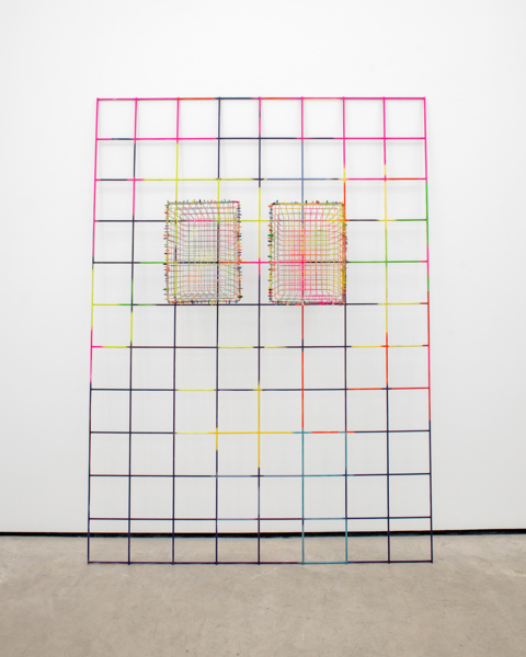 Indian Summer, 2016, Painted rebar mesh, painted wire baskets, coloured cable ties, 222 x 161 x 39 cm, 87.4 x 63.4 x 15.4 in