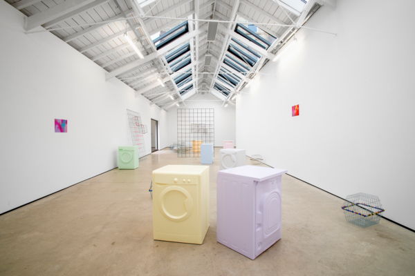 Electrolux, 2016, Washing machines, pigmented lacquer, painted rebar mesh, painted wire baskets, wire baskets, coloured cable ties, Mylar foil, Dimensions variable, Installation view 'Electrolux', The Modern Institute, Osborne Street, Glasgow, 2016