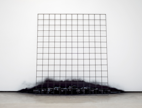 Latitude, 2016, Steel bar grid, shoes, pigmented lacquer, Installed dimensions: 220 x 350 x 52 cm, 86.6 x 137.8 x 20.5 in, Grid: 230 x 198 x 1 cm, 90.6 x 78 x 0.4 in