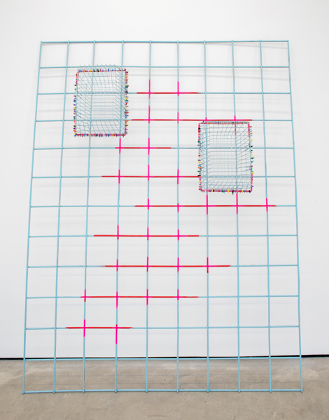 Hot Point, 2016, Painted rebar mesh, wire baskets, coloured cable ties, 240 x 182 x 39 cm, 94.5 x 71.7 x 15.4 in