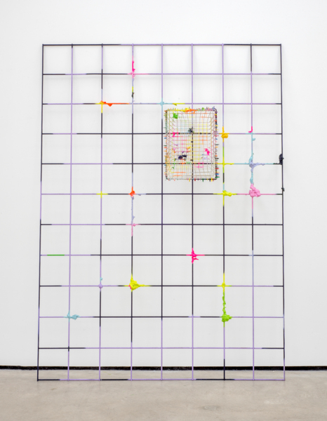 Ultra-Glow, 2016, Painted rebar mesh, expanding foam, painted wire basket, coloured cable ties, 222 x 161 x 43 cm, 87.4 x 63.4 x 16.9 in