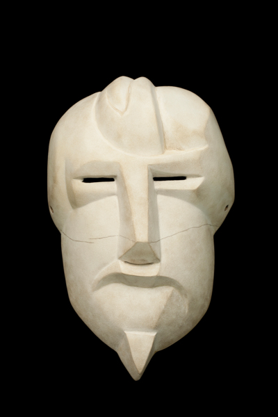 Ezra Pound (After Henri Gaudier-Brzeska), Paulownia, Japanese lacquer, gesso, pigment, charred rhododendron, powder-coated steel, Mask made in collaboration with Yasuo Miichi, Osaka. Mask 27.5 x 17 x 10.5 cm