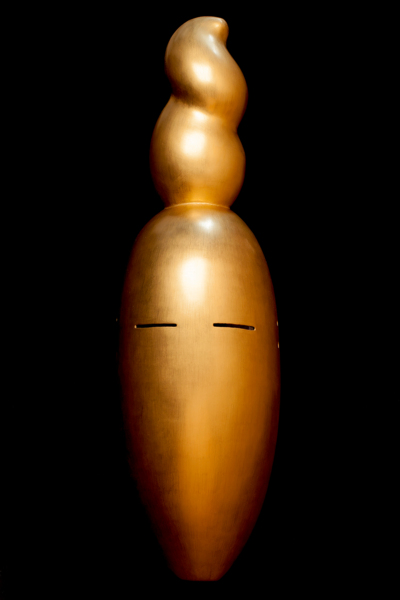 Nancy Cunard (After Constantin Brancusi), Paulownia, Japanese lacquer, gesso, pigment, charred oak, powder-coated steel, Mask made in collaboration with, Yasuo Miichi, Osaka. Mask 56.5 x 17 x 12 cm