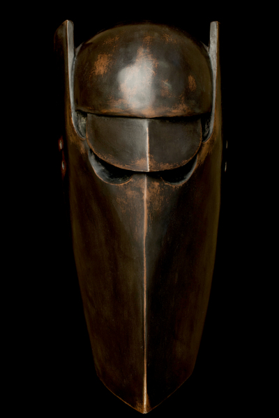 Rock Drill (After Jacob Epstein), Paulownia, Japanese lacquer, gesso, pigment, charred oak and rhododendron, powder-coated steelt, Mask made in collaboration with, Yasuo Miichi, Osaka. Mask  56.5 x 17 x 12 cm